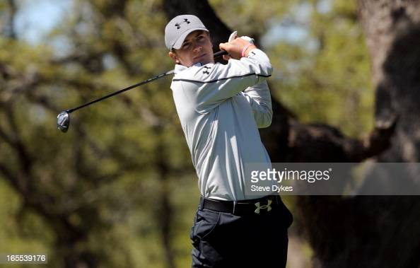 Jordan Spieth hits his tee shot on the 6th hole during the first round of the Valero Texas Open at the ATT Oaks Course at TPC San Antonio on April 04...