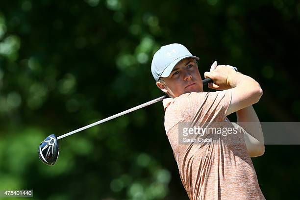 Jordan Spieth hits his tee shot on the first hole during the Final Round of the ATT Byron Nelson at the TPC Four Seasons Resort Las Colinas on May 31...