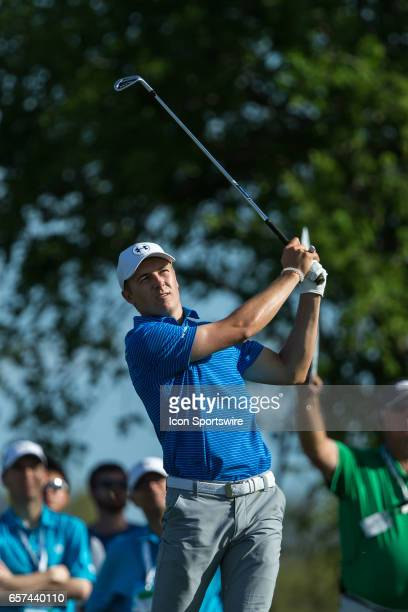 Jordan Spieth hits his tee whot on the par 3 eleventh hole during the second round of the WGCDell Technologies Match Play on March 23 at Austin...