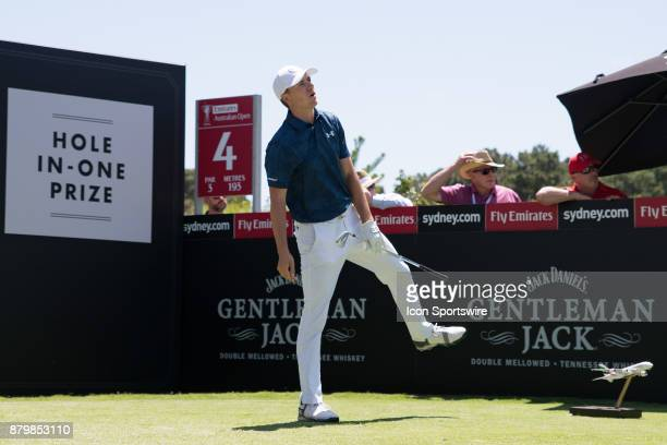 Jordan Spieth hits hits tee shot wide at the final round of the 102nd Australian Open Golf Championship at The Australian Golf Club in Sydney on...