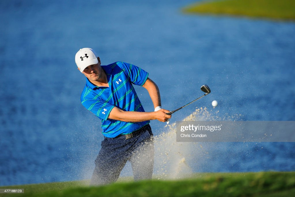 <a gi-track='captionPersonalityLinkClicked' href=/galleries/search?phrase=Jordan+Spieth&family=editorial&specificpeople=5440480 ng-click='$event.stopPropagation()'>Jordan Spieth</a> hits out of a bunker on the 16th hole during the second round of the World Golf Championships-Cadillac Championship at Blue Monster, Trump National Doral, on March 7, 2014 in Doral, Florida.