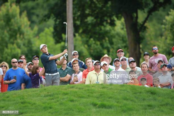 Jordan Spieth in action during the fourth round of the Travelers Championship Tournament at the TPC River Highlands Golf Course on June 25th 2017 in...