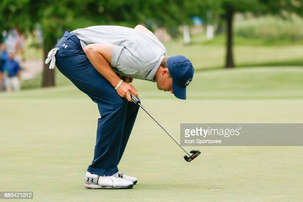 Jordan Spieth inspects a spot on the green during the second round of the ATT Byron Nelson on May 19 2017 at the TPC Four Seasons Resort in Irving TX
