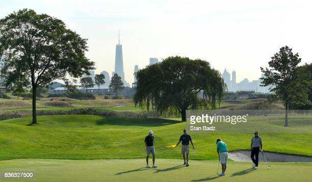 Jordan Spieth Jim Furyk Charley Hoffman and United States Presidents Cup Team Captain Steve Stricker play the fourth hole during course previews at...