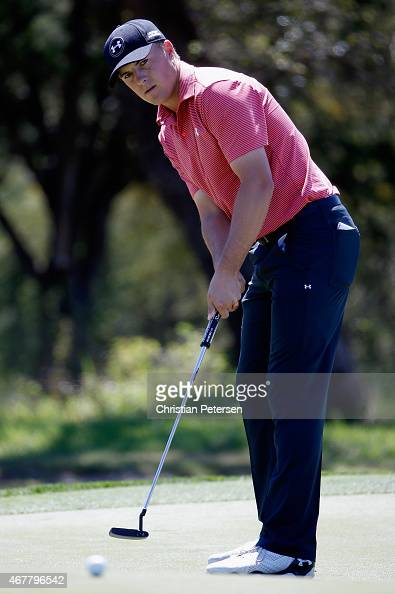Jordan Spieth lines putts on the eighth hole during round two of the Valero Texas Open at TPC San Antonio ATT Oaks Course on March 27 2015 in San...