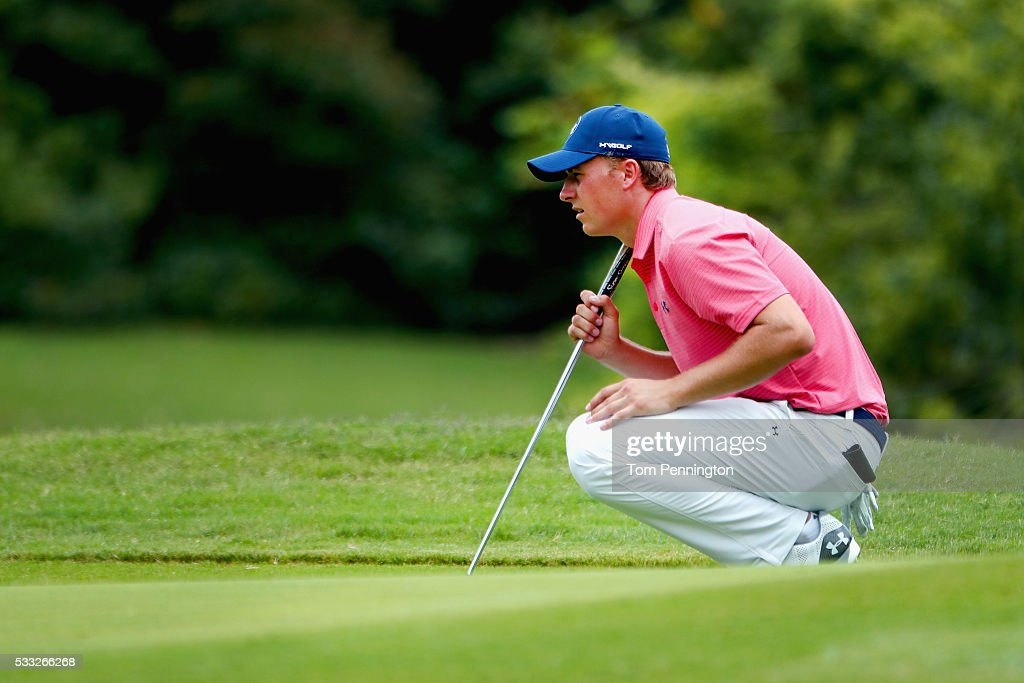 Jordan Spieth lines up a birdie putt on the ninth hole during Round Three at the ATT Byron Nelson on May 21 2016 in Irving Texas