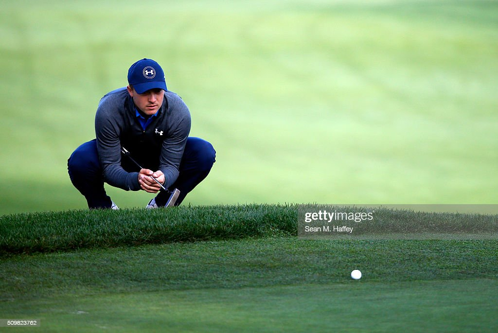 <a gi-track='captionPersonalityLinkClicked' href=/galleries/search?phrase=Jordan+Spieth&family=editorial&specificpeople=5440480 ng-click='$event.stopPropagation()'>Jordan Spieth</a> lines up a putt on the 10th green during the second round of the AT&T Pebble Beach National Pro-Am at the Monterey Peninsula Country Club (Shore Course) on February 12, 2016 in Pebble Beach, California.