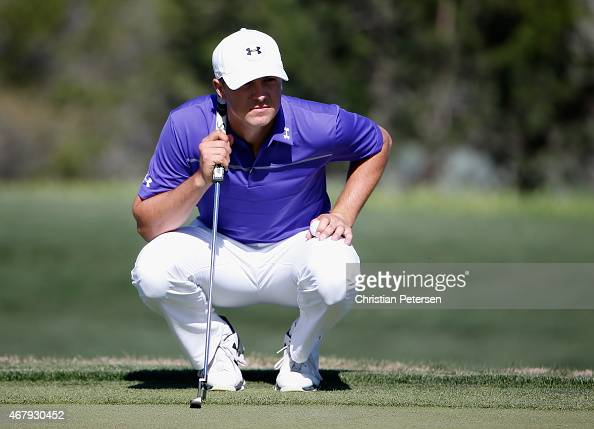 Jordan Spieth lines up a putt on the 17th green during round three of the Valero Texas Open at TPC San Antonio ATT Oaks Course on March 28 2015 in...
