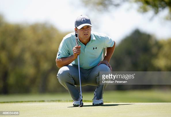 Jordan Spieth lines up a putt on the sixth hole during the final round of the Valero Texas Open at TPC San Antonio ATT Oaks Course on March 29 2015...