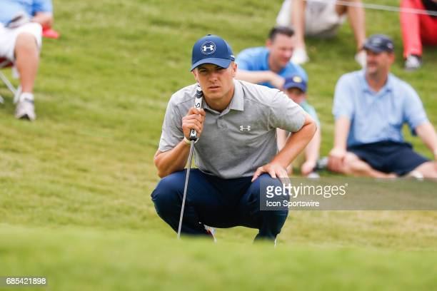 Jordan Spieth lines up his birdie attempt on during the second round of the ATT Byron Nelson on May 19 2017 at the TPC Four Seasons Resort in Irving...