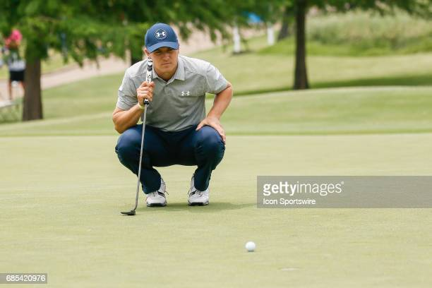 Jordan Spieth lines up his par putt on during the second round of the ATT Byron Nelson on May 19 2017 at the TPC Four Seasons Resort in Irving TX