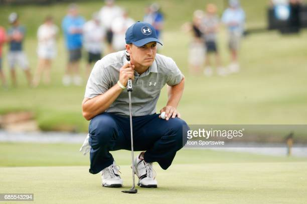 Jordan Spieth lines up his putt on during the second round of the ATT Byron Nelson on May 19 2017 at the TPC Four Seasons Resort in Irving TX