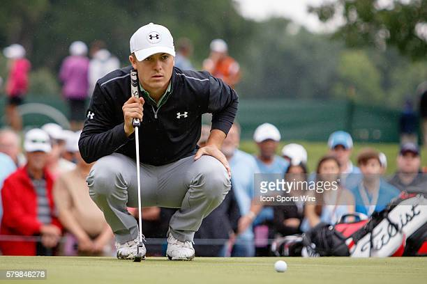 Jordan Spieth lines up his putt on during the second round of the Crowne Plaza Invitational at Colonial in Fort Worth TX
