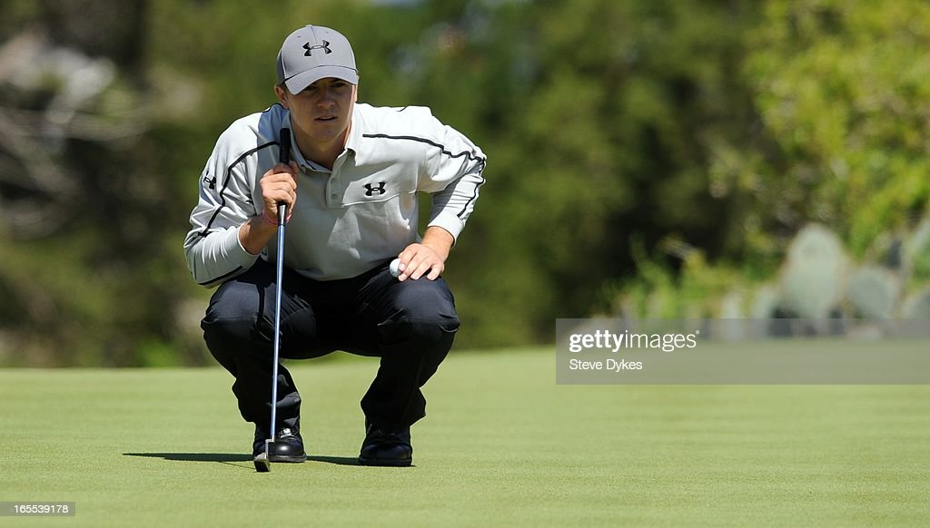 Jordan Spieth lines up his putt on the 6th hole during the first round of the Valero Texas Open at the AT&T Oaks Course at TPC San Antonio on April 04, 2013 in San Antonio, Texas.