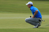 Jordan Spieth lines up his putt on the third green during Round Two at the ATT Byron Nelson on May 20 2016 in Irving Texas