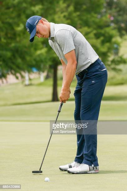 Jordan Spieth lips out his par putt on during the second round of the ATT Byron Nelson on May 19 2017 at the TPC Four Seasons Resort in Irving TX