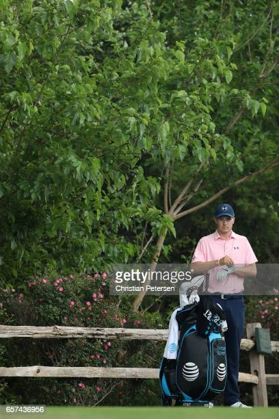 Jordan Spieth looks on from the 18th tee during round three of the World Golf ChampionshipsDell Technologies Match Play at the Austin Country Club on...