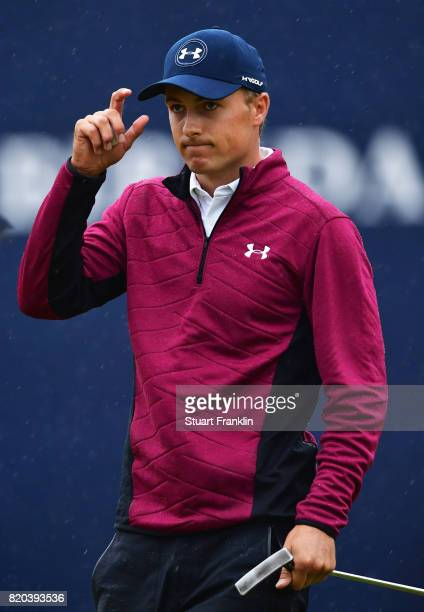 Jordan Spieth of the United States acknowledges the crowd on the 18th green during the second round of the 146th Open Championship at Royal Birkdale...