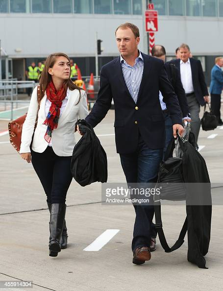Jordan Spieth of the United States and girlfriend Annie Verret arrive at Edinburgh Airport ahead of the 2014 Ryder Cup at Gleneagles on September 22...