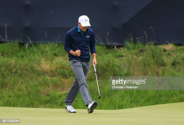 Jordan Spieth of the United States celebrates a birdie on the 14th hole during the final round of the 146th Open Championship at Royal Birkdale on...