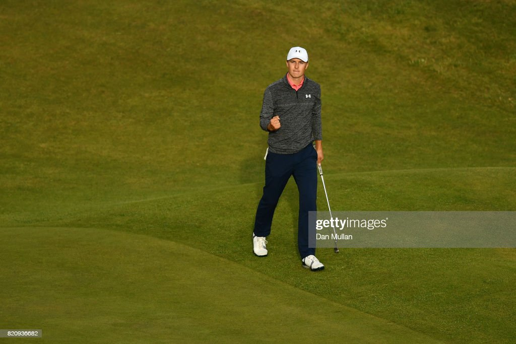 Jordan Spieth of the United States celebrates a birdie on the 18th green during the third round of the 146th Open Championship at Royal Birkdale on July 22, 2017 in Southport, England.