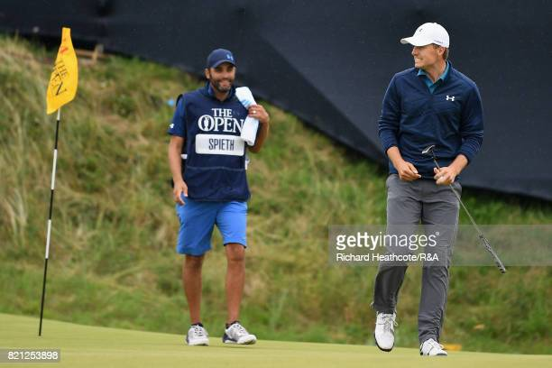 Jordan Spieth of the United States celebrates a birdie putt on the 14th hole during the final round of the 146th Open Championship at Royal Birkdale...