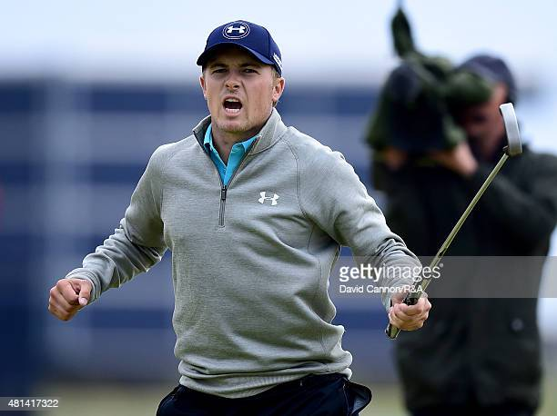 Jordan Spieth of the United States celebrates after holing a birdie putt on the 16th hole during the final round of the 144th Open Championship at...