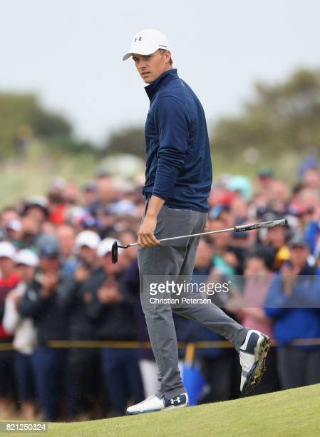 Jordan Spieth of the United States celebrates an eagle on the 15th hole during the final round of the 146th Open Championship at Royal Birkdale on...