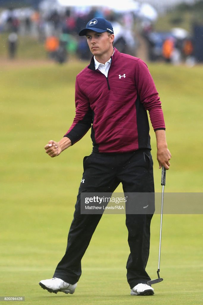 Jordan Spieth of the United States celebrates his eagle on the 15th hole during the second round of the 146th Open Championship at Royal Birkdale on July 21, 2017 in Southport, England.