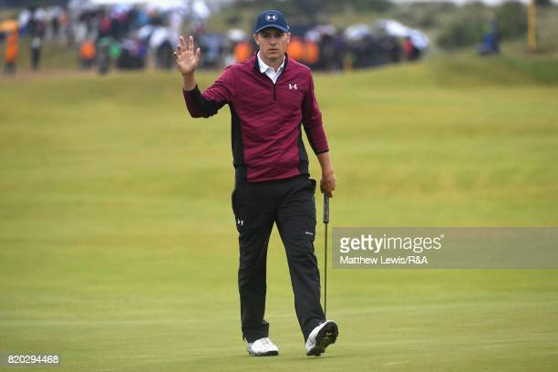 Jordan Spieth of the United States celebrates his eagle on the 15th hole during the second round of the 146th Open Championship at Royal Birkdale on...