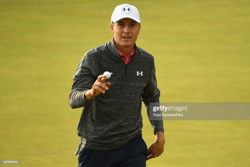Jordan Spieth of the United States celebrates holing out for birdie on the 18th green during the third round of the 146th Open Championship at Royal Birkdale on July 22, 2017 in Southport, England.