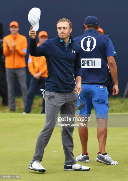 Jordan Spieth of the United States celebrates victory on the 18th green after winning the 146th Open Championship at Royal Birkdale on July 23 2017...