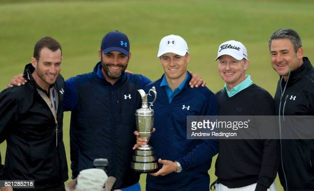 Jordan Spieth of the United States celebrates victory with the Claret Jug and his team on the 18th green during the final round of the 146th Open...