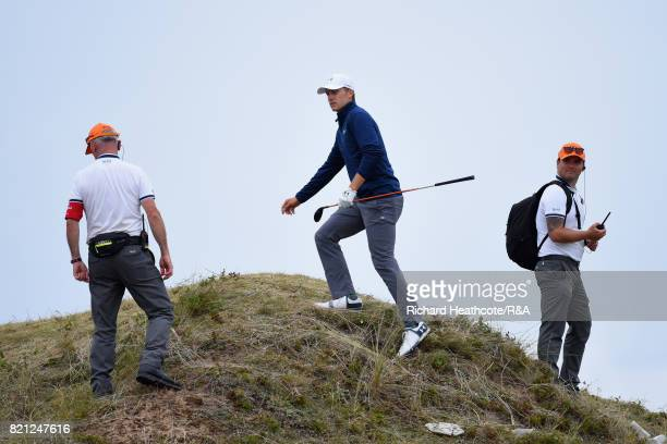 Jordan Spieth of the United States checks the playing line for his third shot on the 13th hole during the final round of the 146th Open Championship...