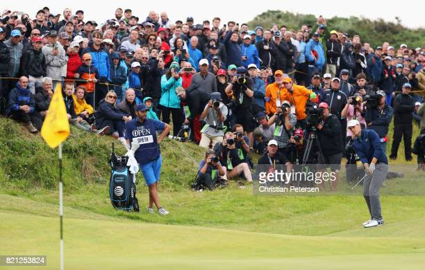 Jordan Spieth of the United States chips on the 13th hole during the final round of the 146th Open Championship at Royal Birkdale on July 23 2017 in...