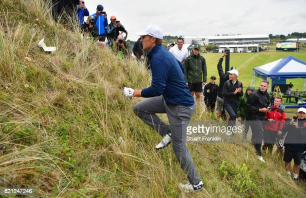 Jordan Spieth of the United States climbs a dune on the 13th hole during the final round of the 146th Open Championship at Royal Birkdale on July 23...