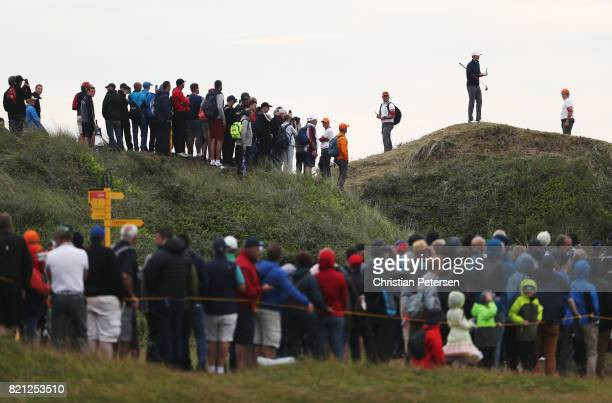 Jordan Spieth of the United States considers his options on the 13th hole during the final round of the 146th Open Championship at Royal Birkdale on...