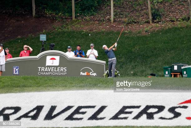 Jordan Spieth of the United States drives from the 15th tee during the final round of the Travelers Championship on June 25 at TPC River Highlands in...