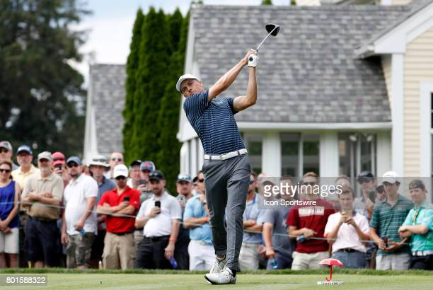 Jordan Spieth of the United States drives from the 6th tee during the final round of the Travelers Championship on June 25 at TPC River Highlands in...