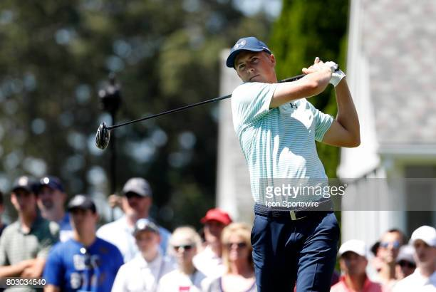 Jordan Spieth of the United States drives from the 6th tee during the third round of the Travelers Championship on June 24 at TPC River Highlands in...