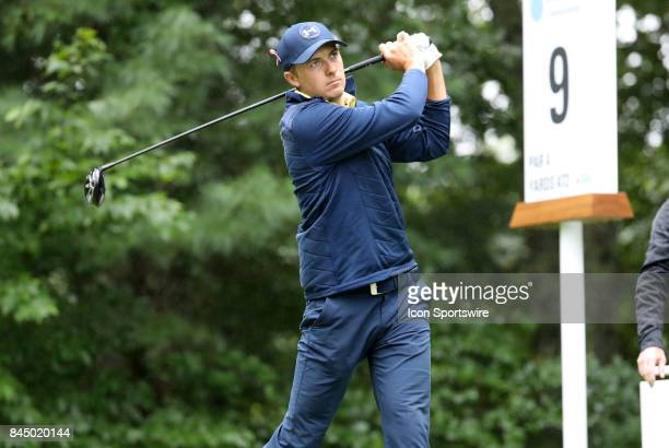 Jordan Spieth of the United States drives from the 9th tee during the third round of the Dell Technologies Championship on September 3 at TPC Boston...