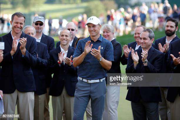 Jordan Spieth of the United States during the final round of the Travelers Championship on June 25 at TPC River Highlands in Cromwell Connecticut