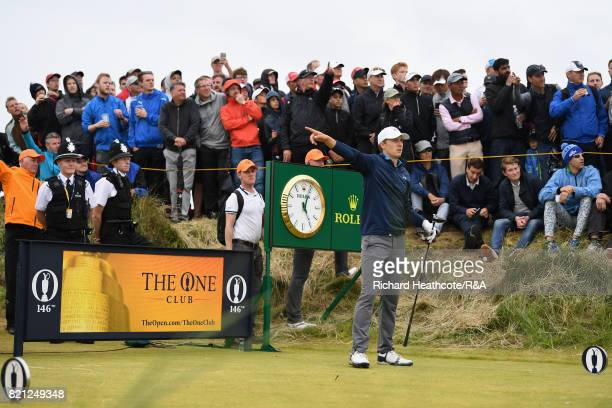 Jordan Spieth of the United States gestures after his tee shot on the 13th hole during the final round of the 146th Open Championship at Royal...