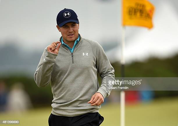 Jordan Spieth of the United States gestures on the 4th green during the final round of the 144th Open Championship at The Old Course on July 20 2015...