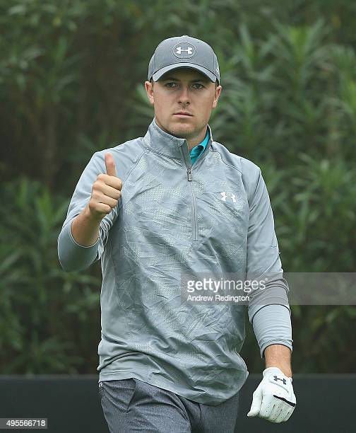 Jordan Spieth of the United States gives a thumbsup during the Pro Am event prior to the start of the WGC HSBC Champions at the Sheshan International...
