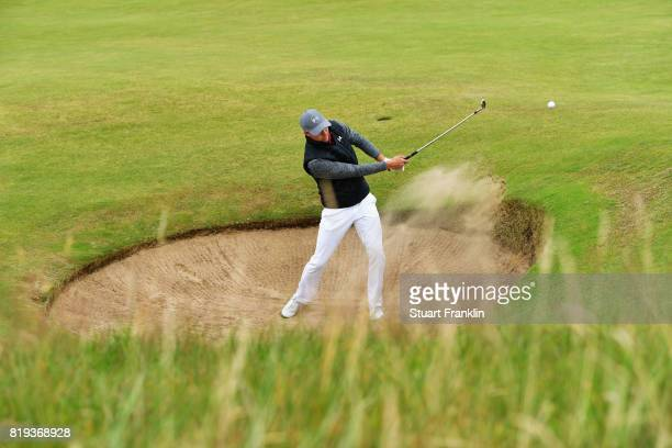 Jordan Spieth of the United States hits a bunker shot on the 15th hole during the first round of the 146th Open Championship at Royal Birkdale on...