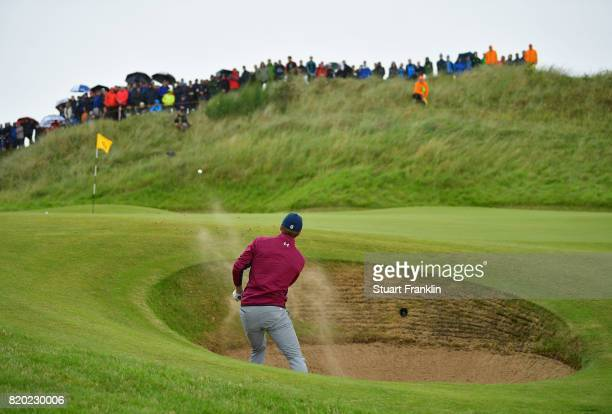 Jordan Spieth of the United States hits a bunker shot to the 6th hole during the second round of the 146th Open Championship at Royal Birkdale on...