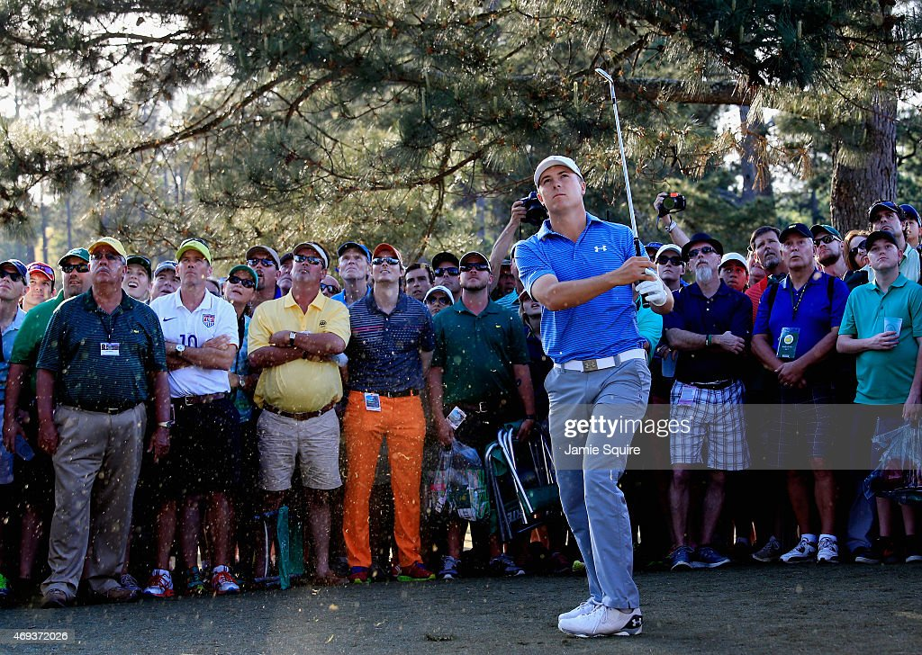 Jordan Spieth of the United States hits a shot on the 17th hole during the third round of the 2015 Masters Tournament at Augusta National Golf Club...