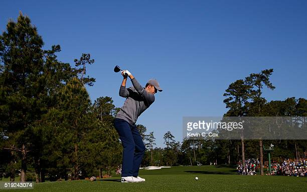 Jordan Spieth of the United States hits a tee shot during a practice round prior to the start of the 2016 Masters Tournament at Augusta National Golf...