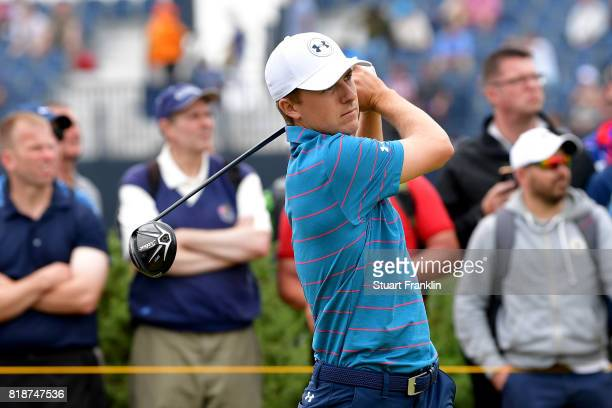 Jordan Spieth of the United States hits a tee shot during a practice round prior to the 146th Open Championship at Royal Birkdale on July 19 2017 in...